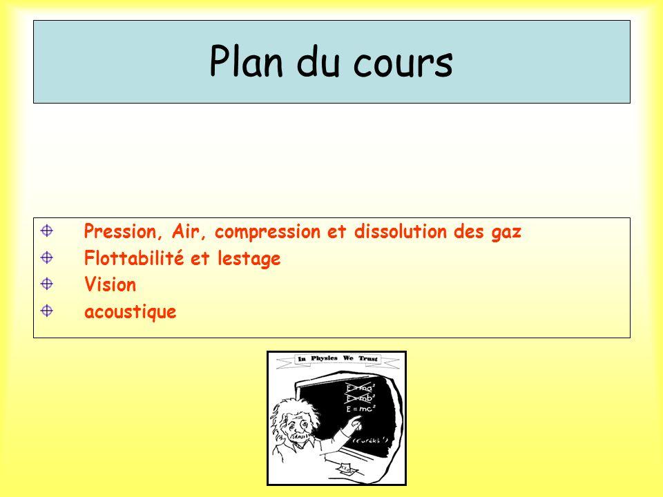 Plan du cours Pression, Air, compression et dissolution des gaz