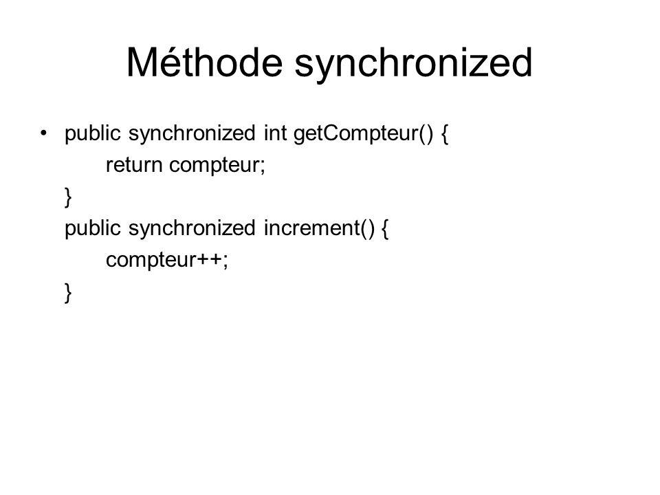 Méthode synchronized public synchronized int getCompteur() {