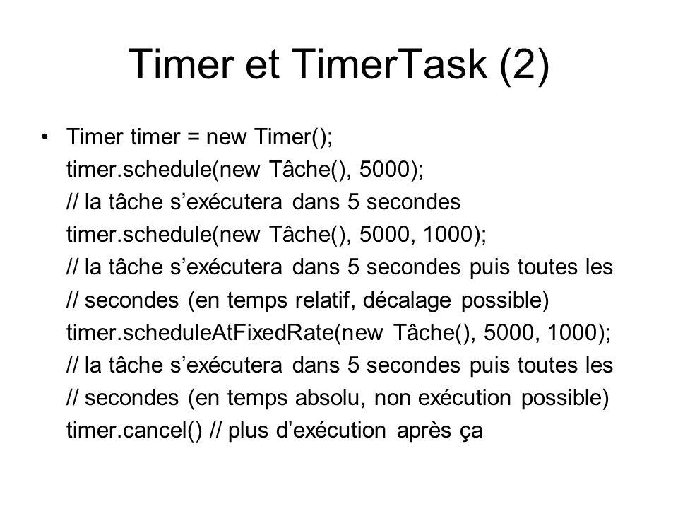 Timer et TimerTask (2) Timer timer = new Timer();