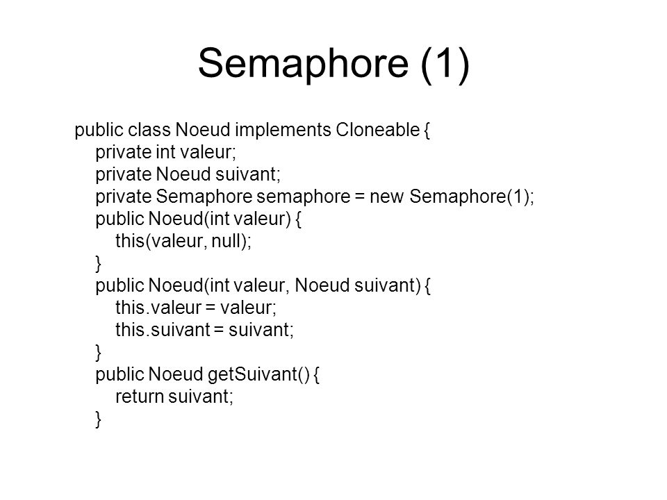 Semaphore (1) public class Noeud implements Cloneable {
