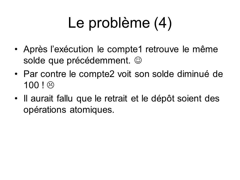 Le problème (4) Après l'exécution le compte1 retrouve le même solde que précédemment.  Par contre le compte2 voit son solde diminué de 100 ! 