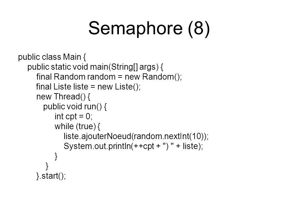 Semaphore (8) public class Main {
