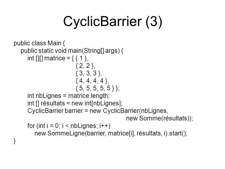 CyclicBarrier (3) public class Main {
