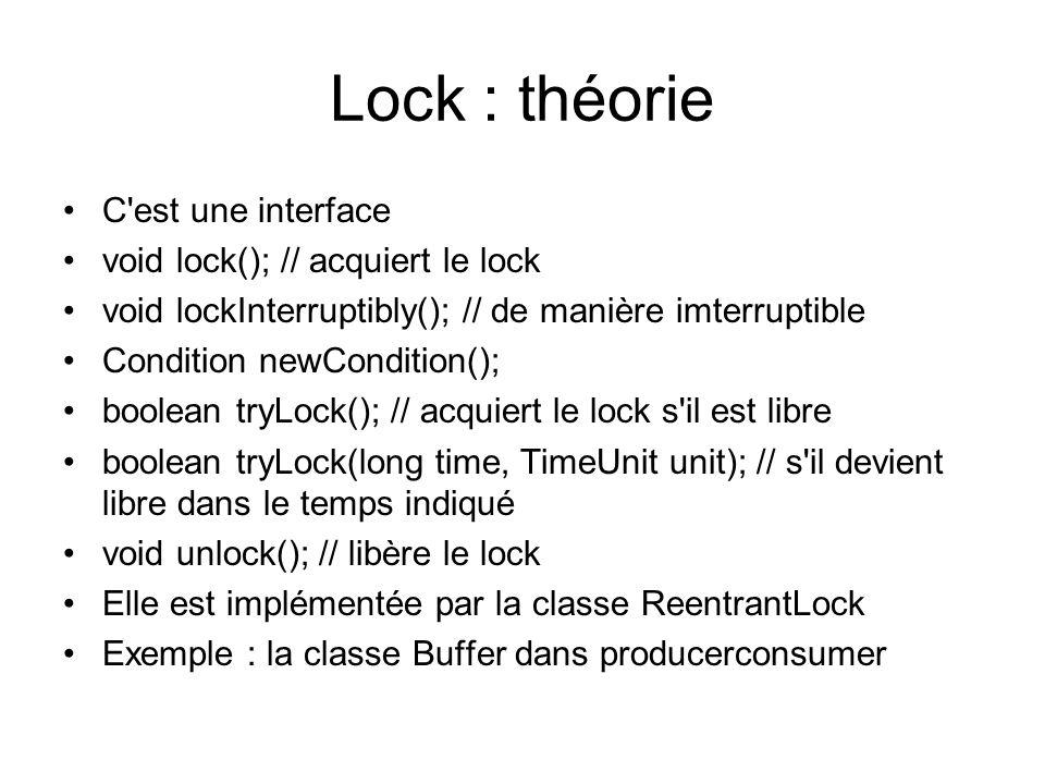 Lock : théorie C est une interface void lock(); // acquiert le lock