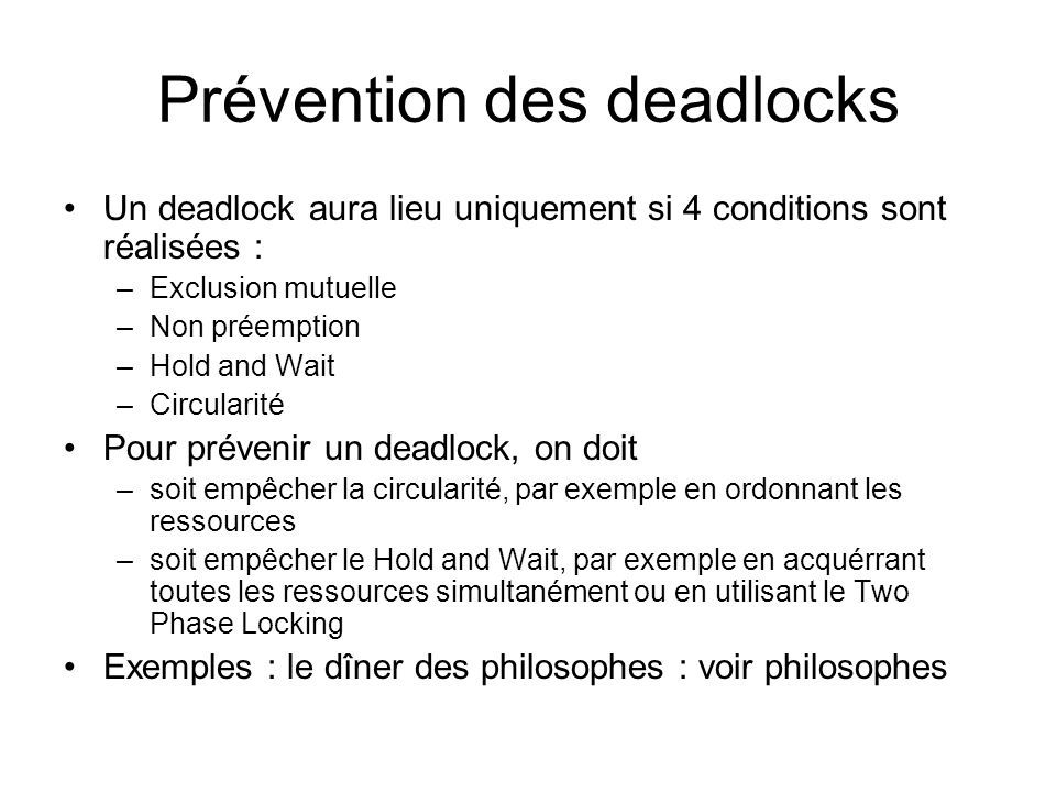 Prévention des deadlocks