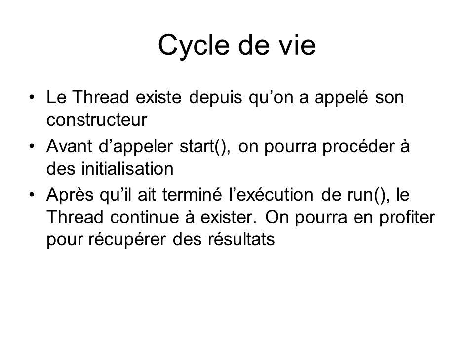 Cycle de vie Le Thread existe depuis qu'on a appelé son constructeur