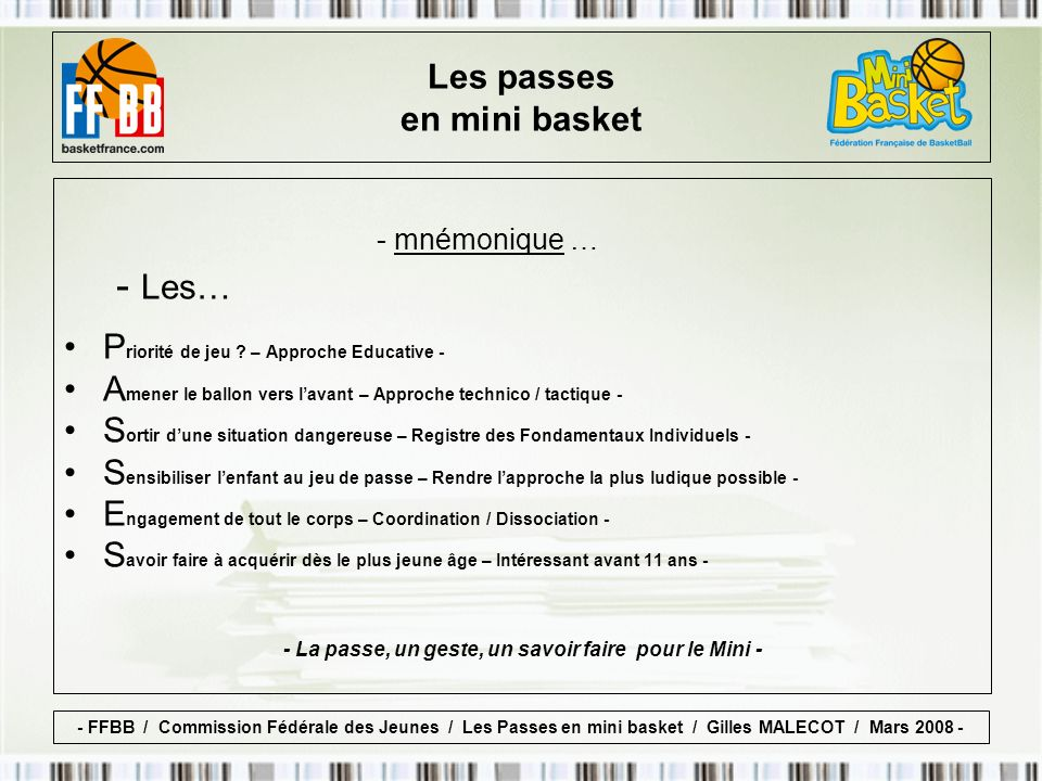 - mnémonique … - Les… Les passes en mini basket