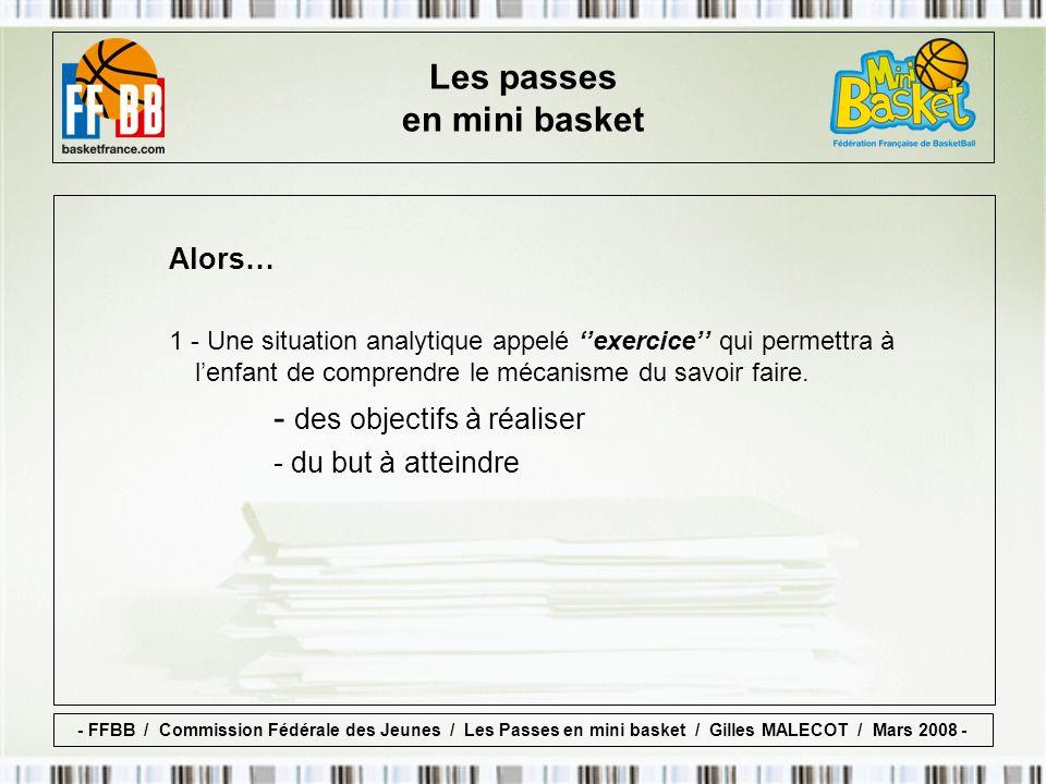 Les passes en mini basket