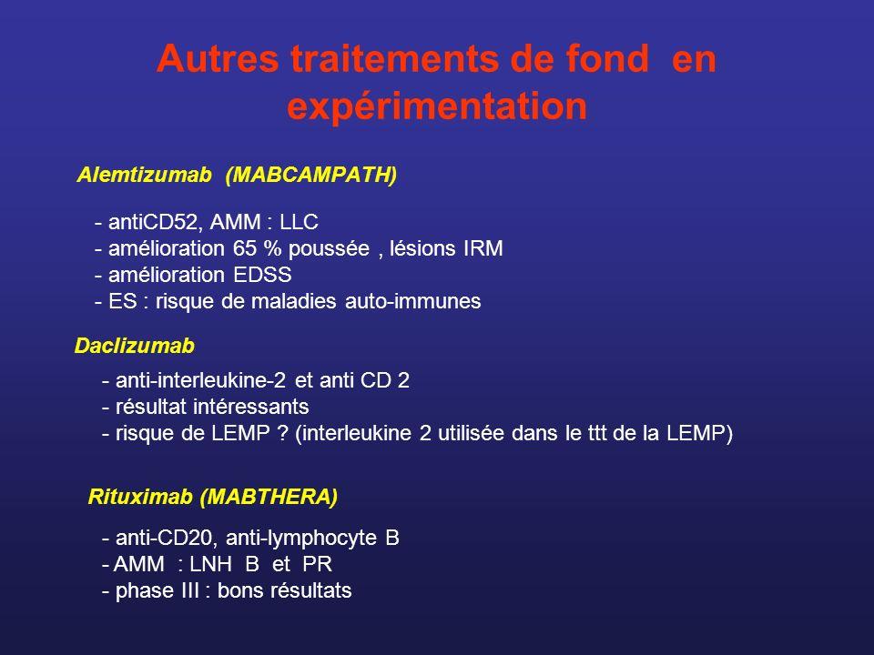 Autres traitements de fond en expérimentation