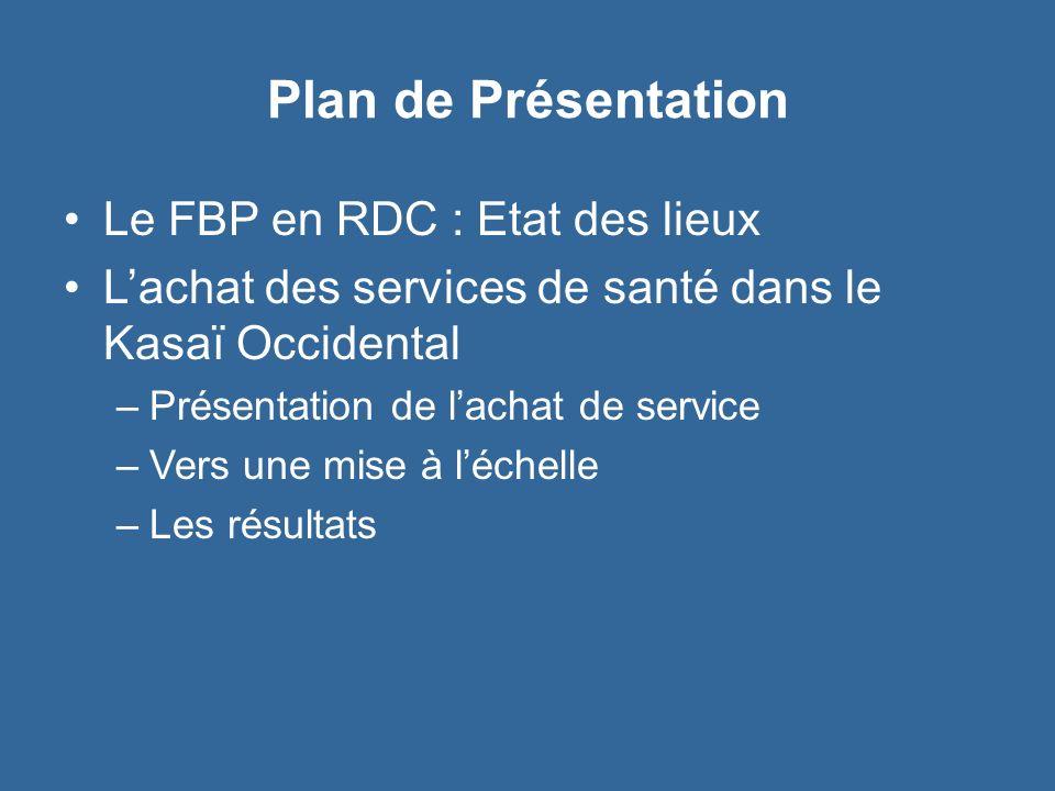 Plan de Présentation Le FBP en RDC : Etat des lieux