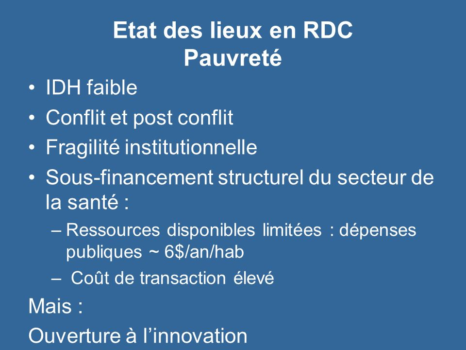 Etat des lieux en RDC Pauvreté