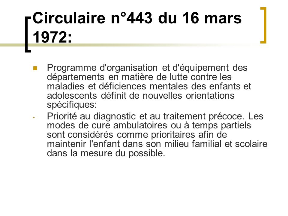 Circulaire n°443 du 16 mars 1972: