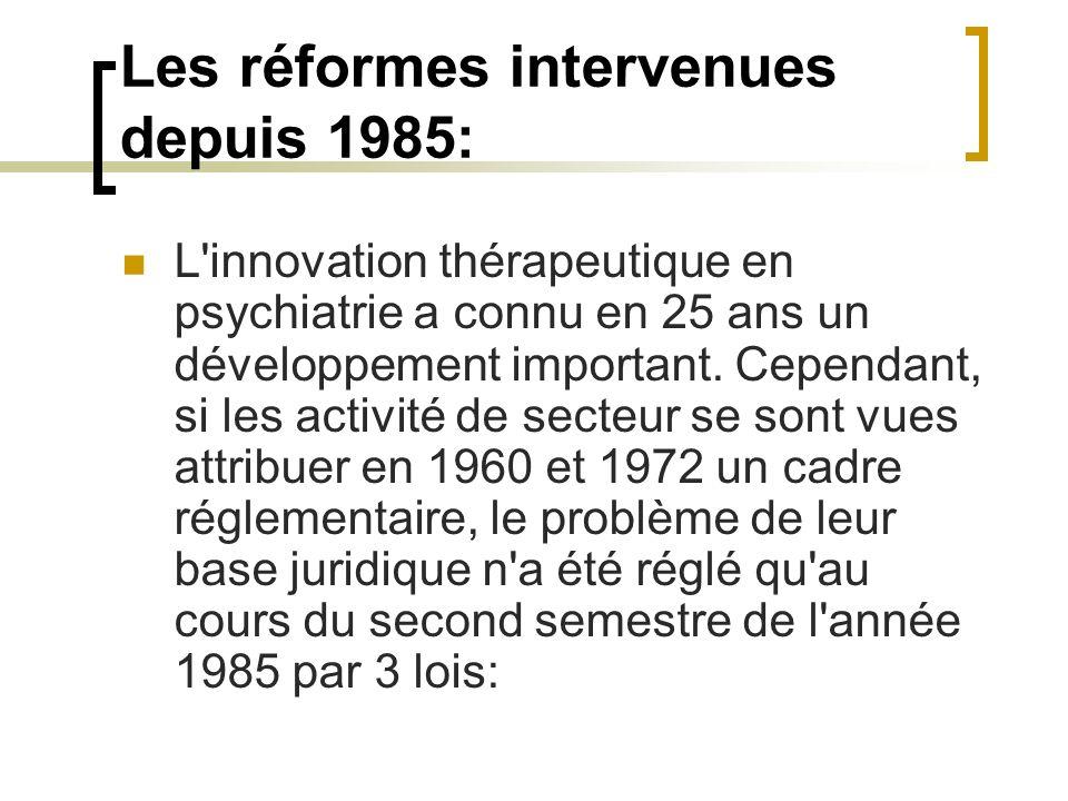 Les réformes intervenues depuis 1985: