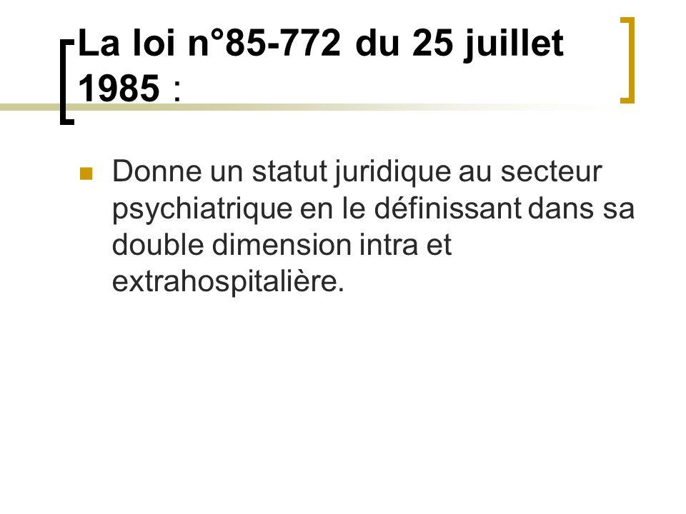 La loi n°85-772 du 25 juillet 1985 :