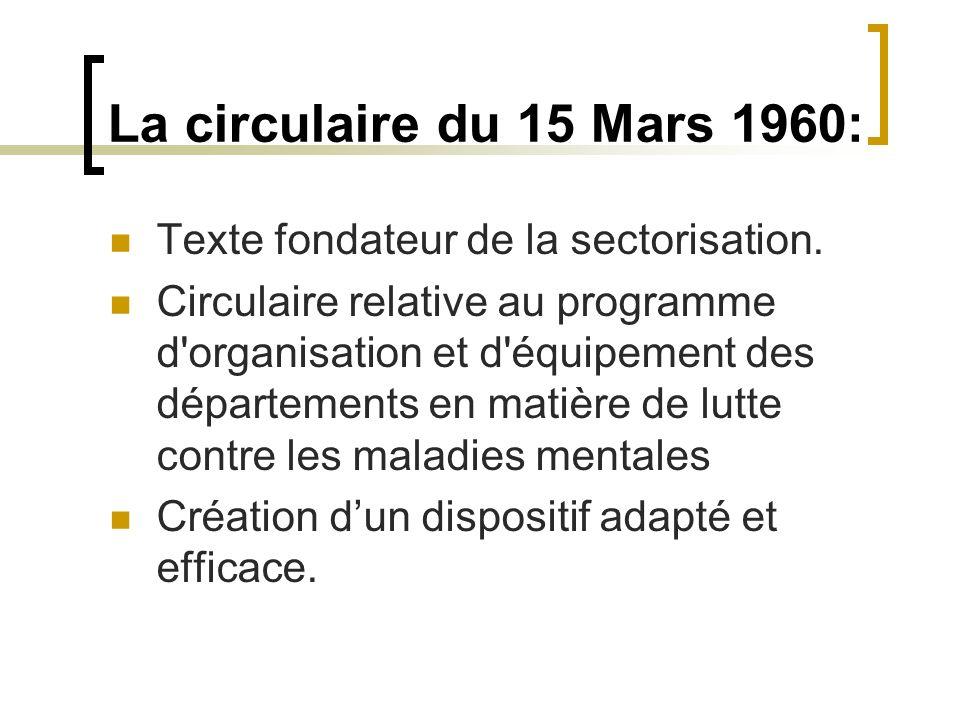 La circulaire du 15 Mars 1960: Texte fondateur de la sectorisation.