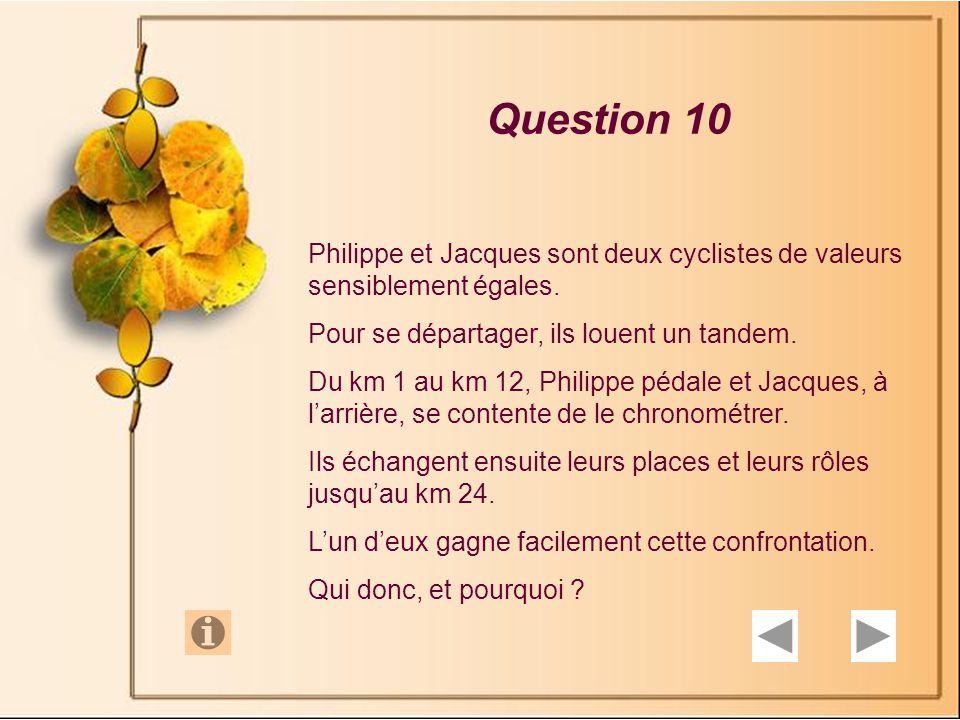Question 10 Philippe et Jacques sont deux cyclistes de valeurs sensiblement égales. Pour se départager, ils louent un tandem.
