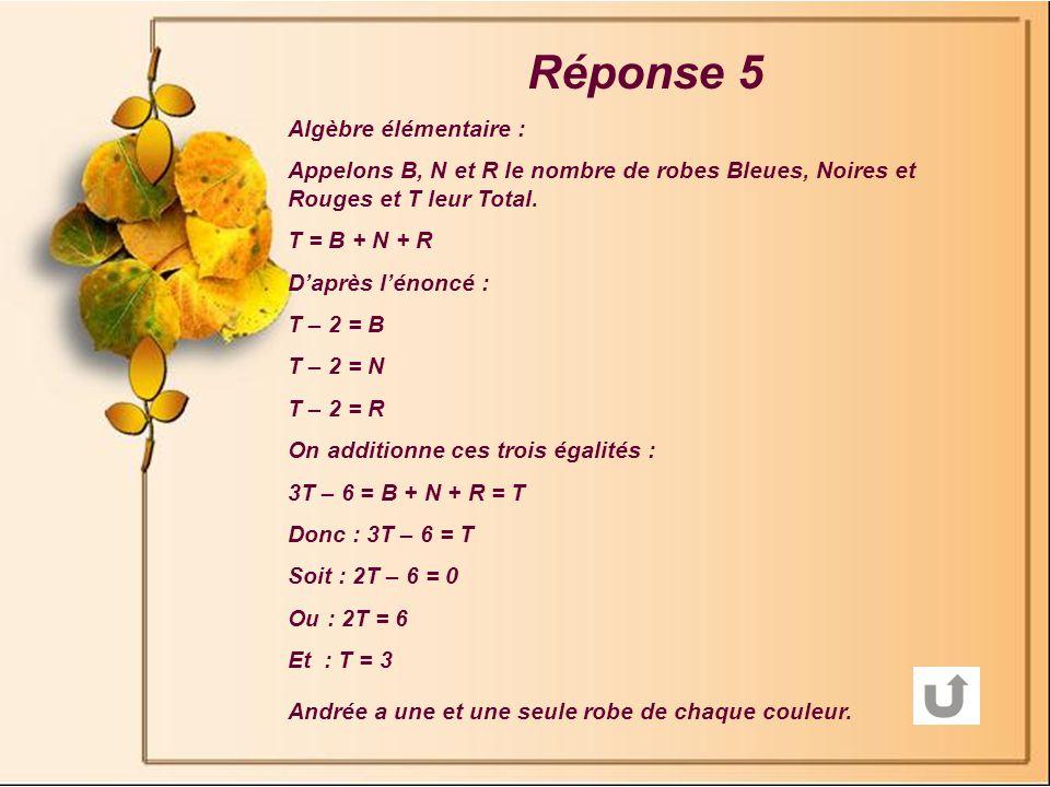 Réponse 5 Algèbre élémentaire :