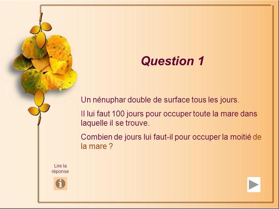 Question 1 Un nénuphar double de surface tous les jours.