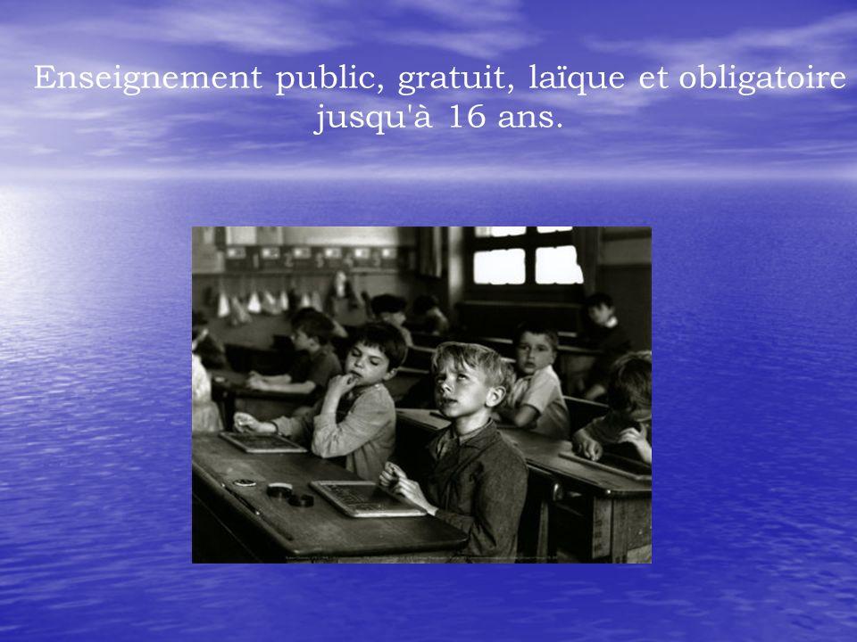 Enseignement public, gratuit, laïque et obligatoire