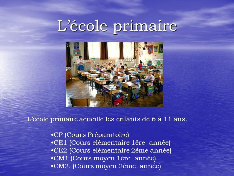 L'école primaire L'école primaire acueille les enfants de 6 à 11 ans.