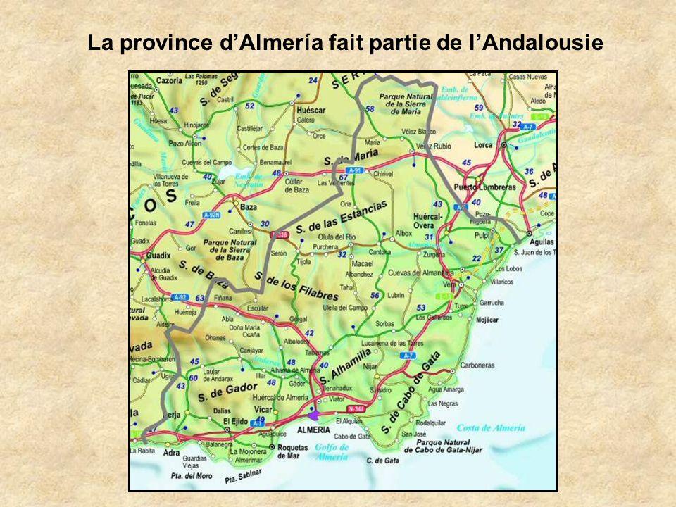 La province d'Almería fait partie de l'Andalousie