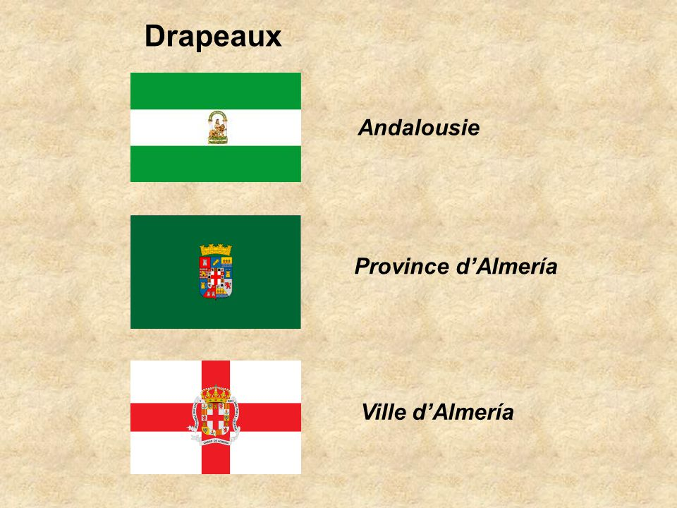 Drapeaux Andalousie Province d'Almería Ville d'Almería