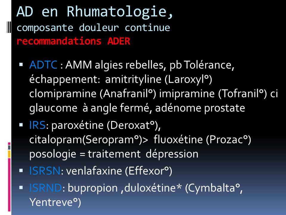 AD en Rhumatologie, composante douleur continue recommandations ADER