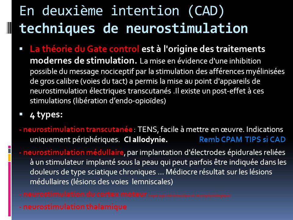 En deuxième intention (CAD) techniques de neurostimulation