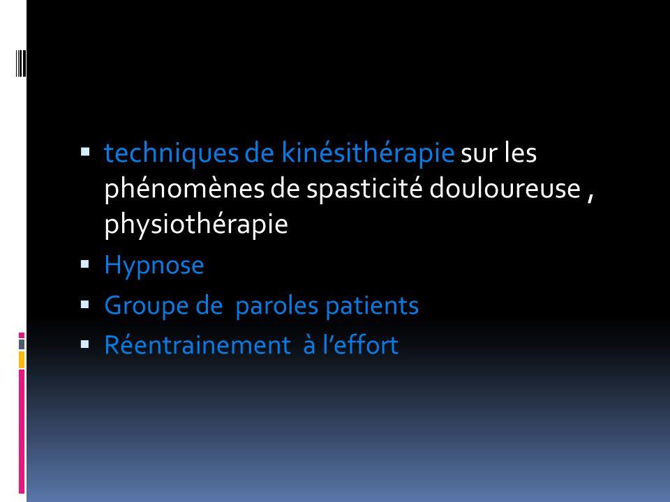 techniques de kinésithérapie sur les phénomènes de spasticité douloureuse , physiothérapie