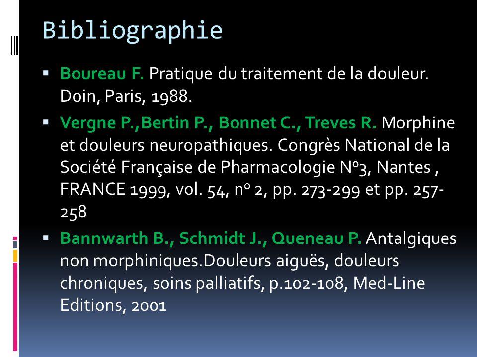 BibliographieBoureau F. Pratique du traitement de la douleur. Doin, Paris, 1988.