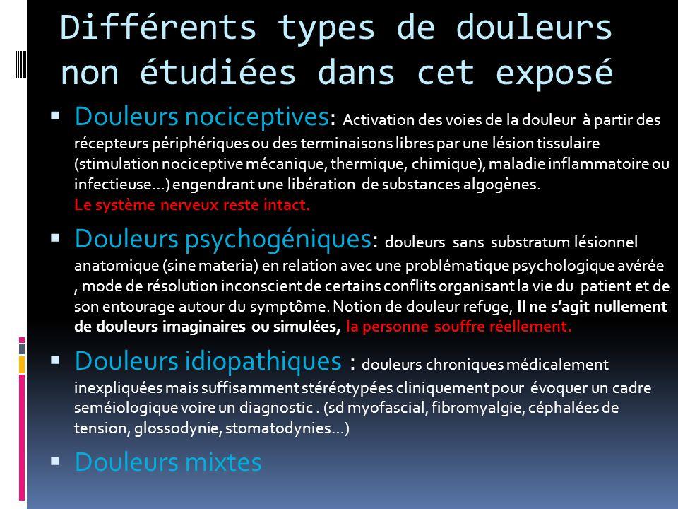 Différents types de douleurs non étudiées dans cet exposé