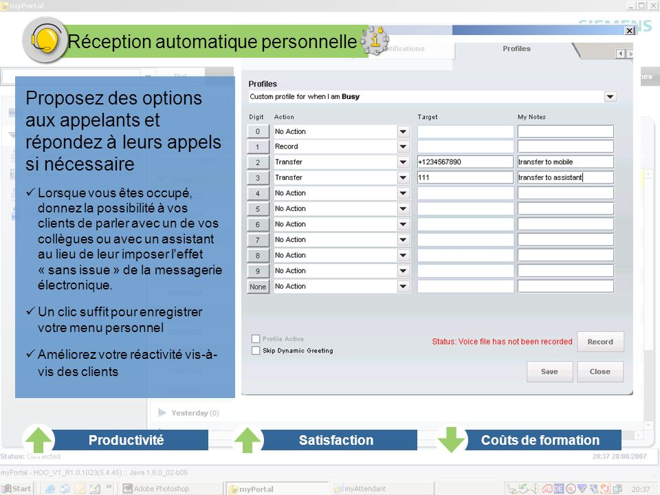 Réception automatique personnelle