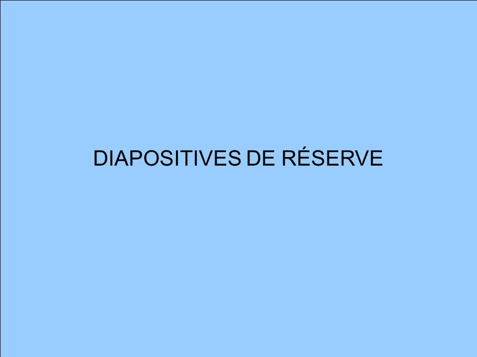 DIAPOSITIVES DE RÉSERVE