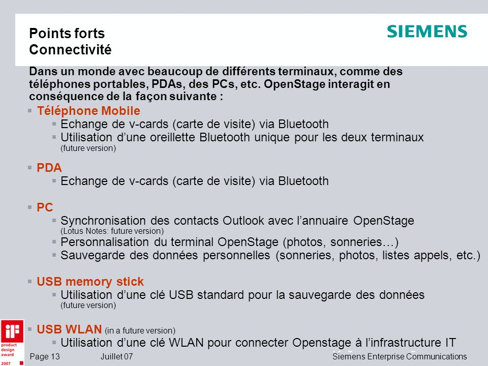 Points forts Connectivité