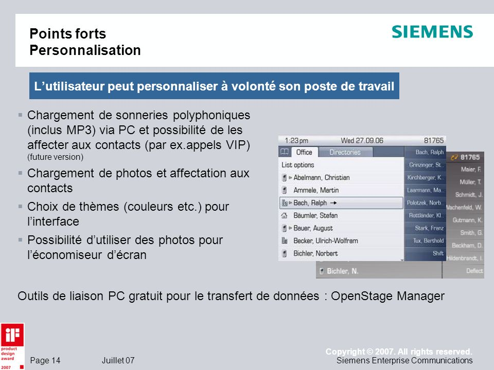Points forts Personnalisation