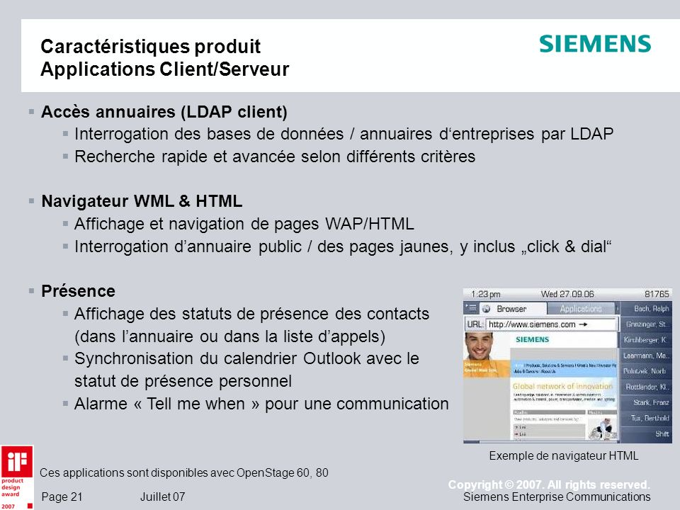 Caractéristiques produit Applications Client/Serveur