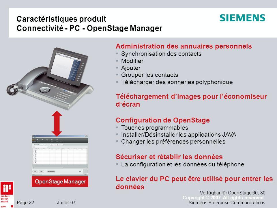 Caractéristiques produit Connectivité - PC - OpenStage Manager