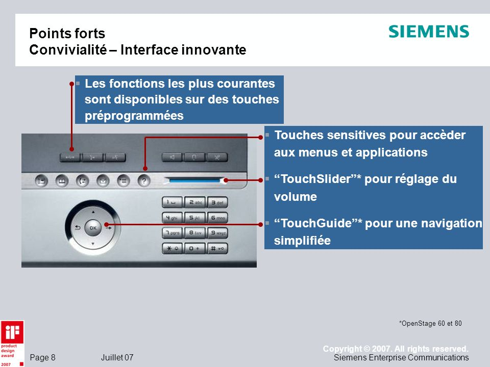Points forts Convivialité – Interface innovante