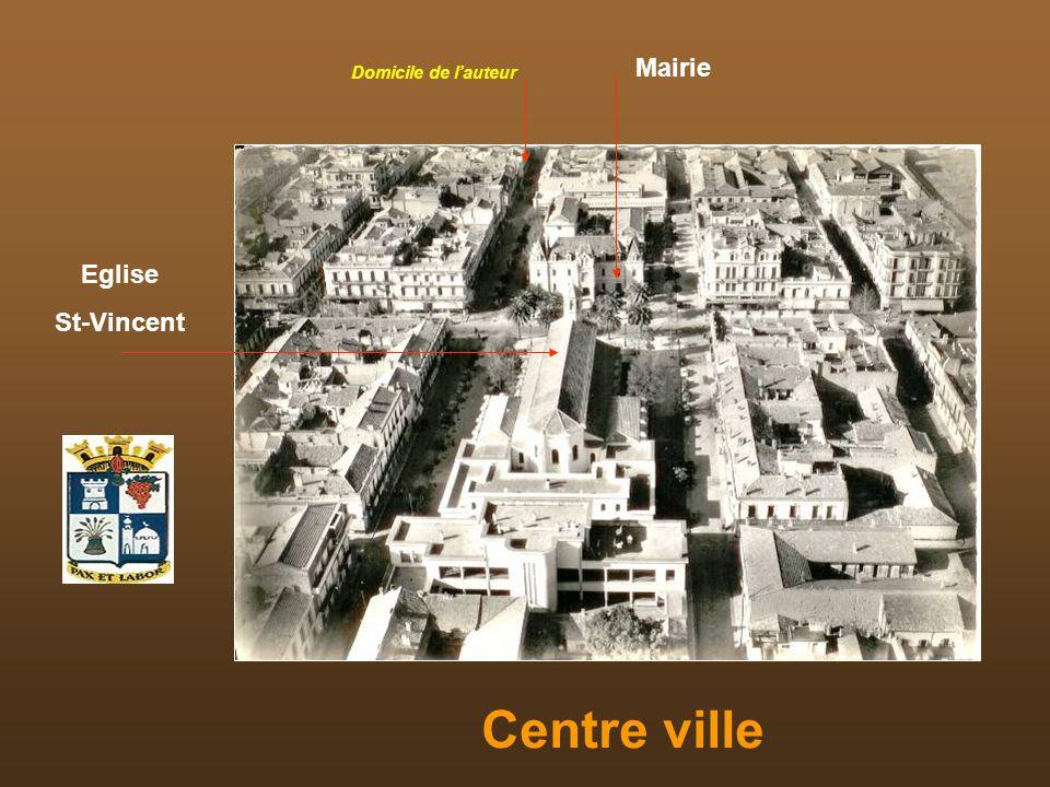 Mairie Domicile de l'auteur Eglise St-Vincent Centre ville