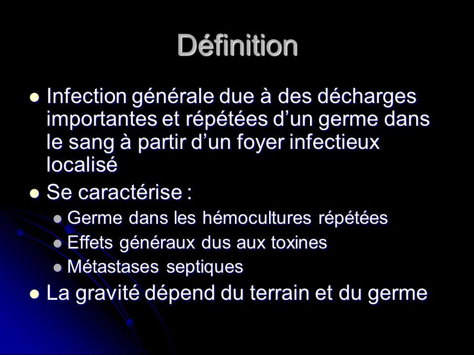Définition Infection générale due à des décharges importantes et répétées d'un germe dans le sang à partir d'un foyer infectieux localisé.