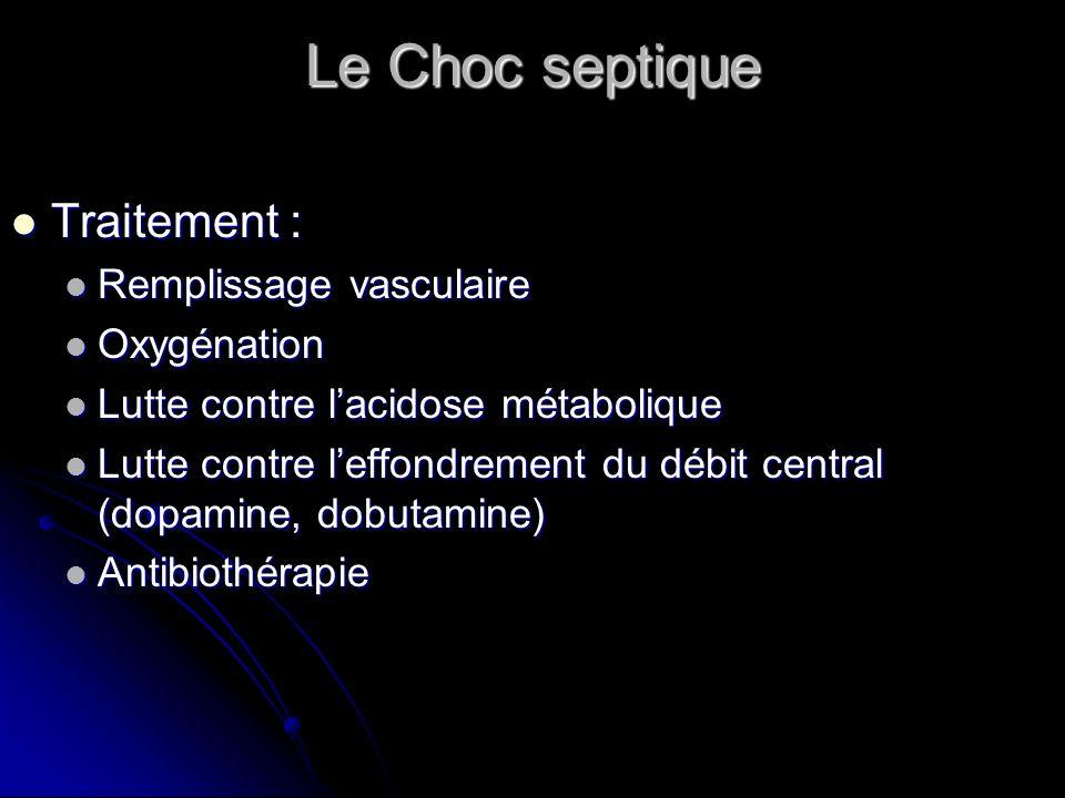 Le Choc septique Traitement : Remplissage vasculaire Oxygénation