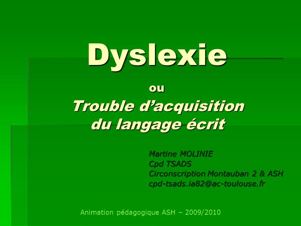 Dyslexie ou Trouble d'acquisition du langage écrit