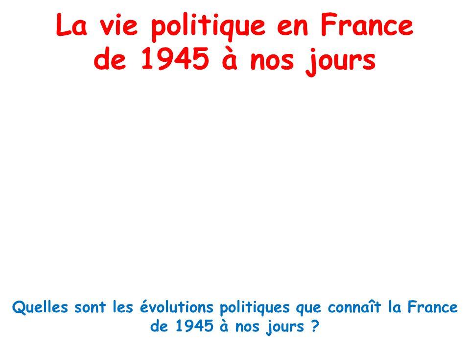 La vie politique en France de 1945 à nos jours