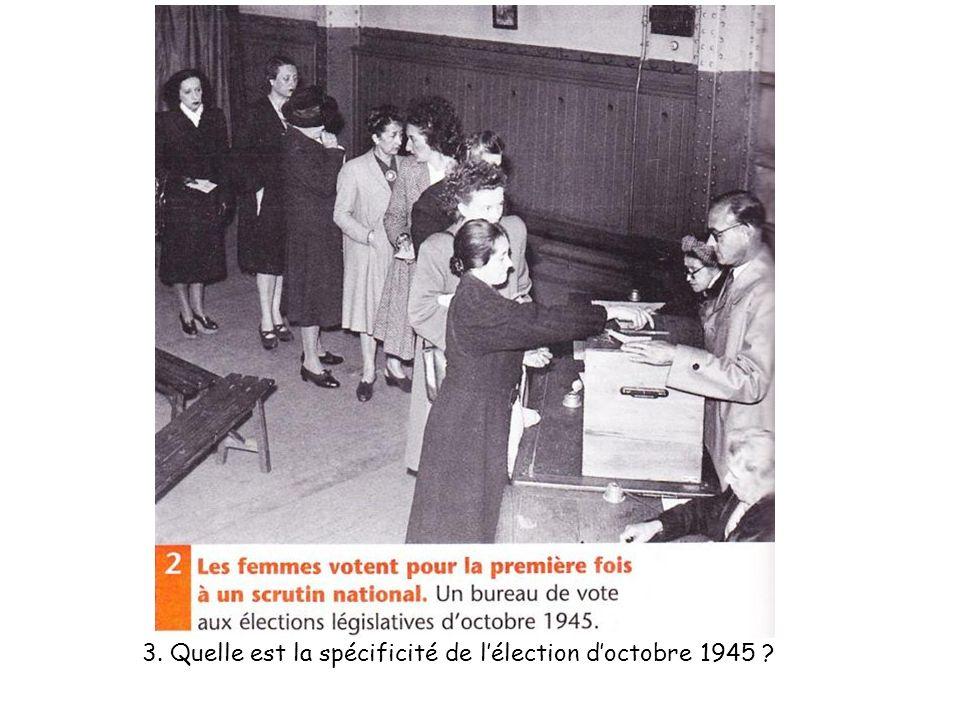 3. Quelle est la spécificité de l'élection d'octobre 1945