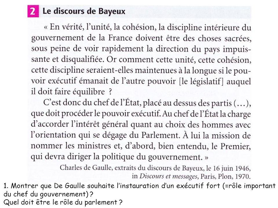 1. Montrer que De Gaulle souhaite l'instauration d'un exécutif fort (=rôle important du chef du gouvernement)
