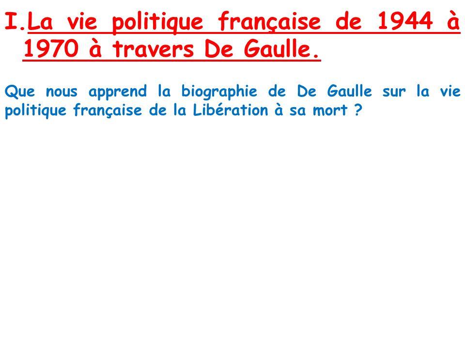 La vie politique française de 1944 à 1970 à travers De Gaulle.