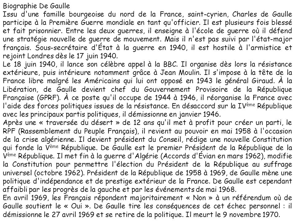 Biographie De Gaulle