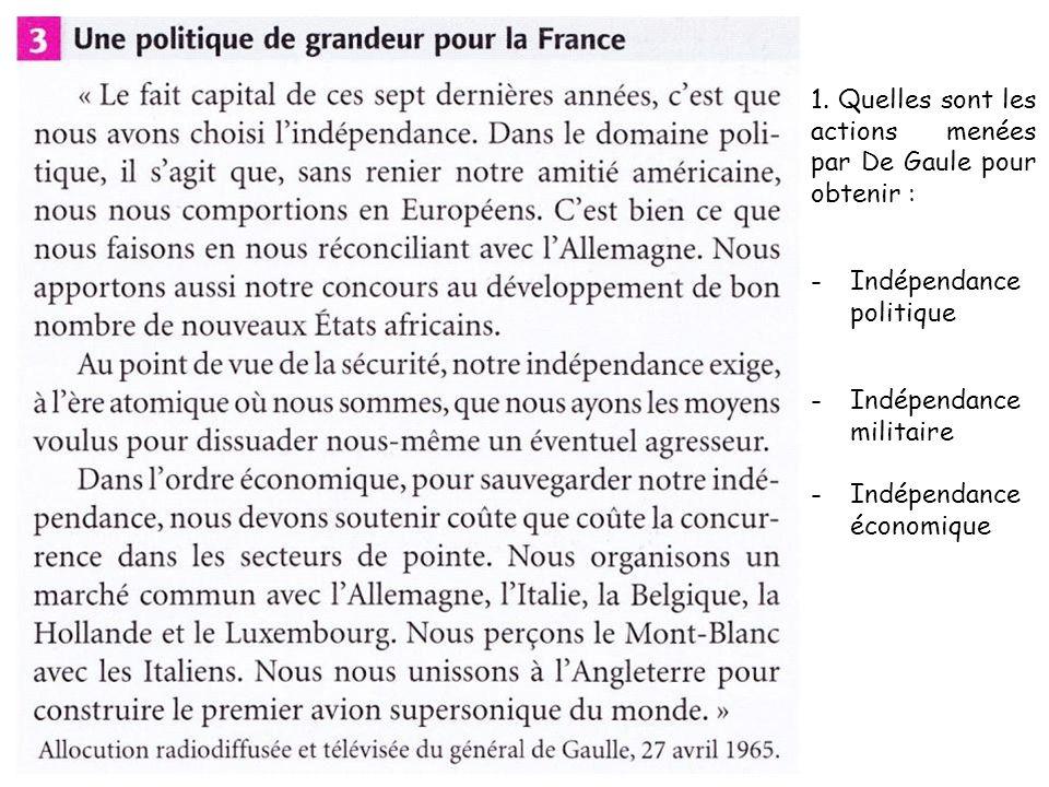 1. Quelles sont les actions menées par De Gaule pour obtenir :