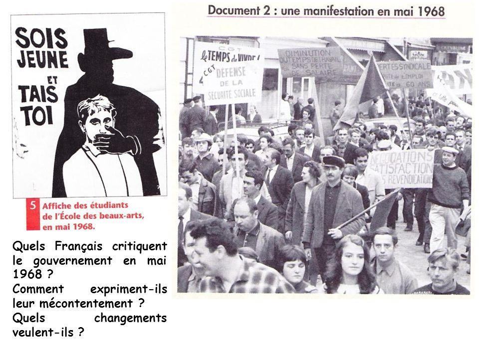 Quels Français critiquent le gouvernement en mai 1968