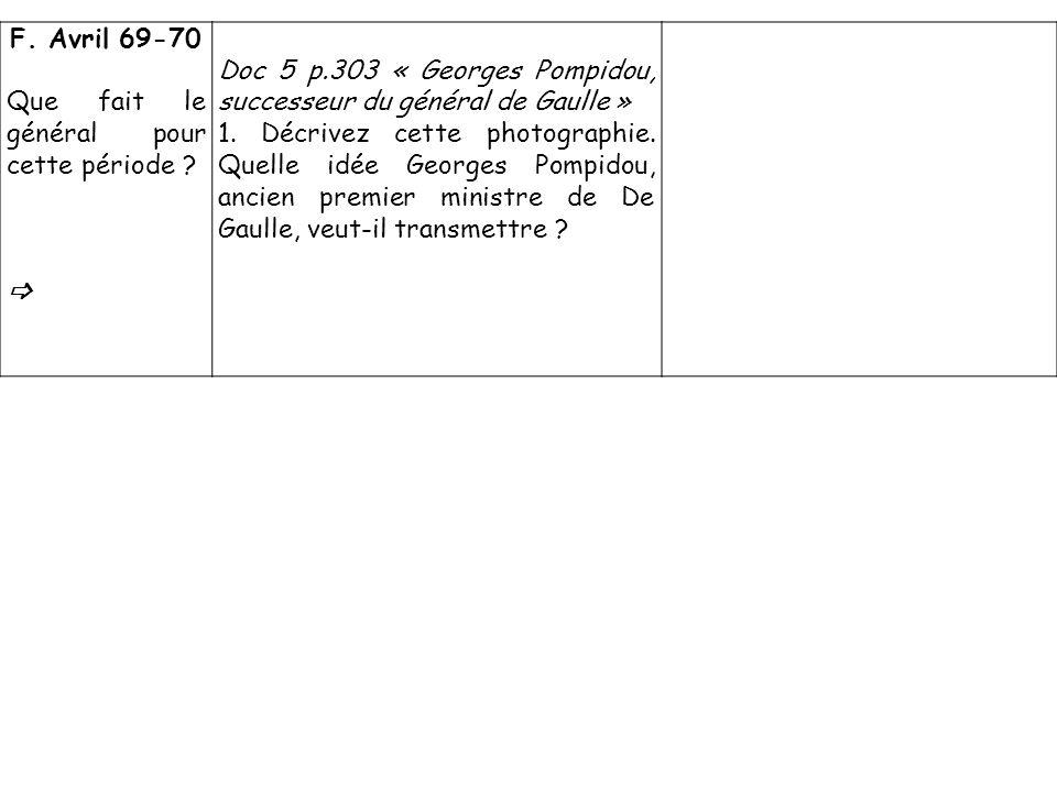 F. Avril 69-70 Que fait le général pour cette période  Doc 5 p.303 « Georges Pompidou, successeur du général de Gaulle »